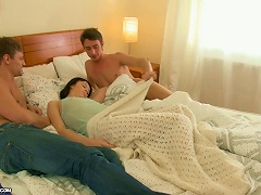 Brunette Wakes Up With Two Guys On Her Bed Ready To Double Penetrate