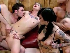 Two Lucky Dudes Drill Three Fucking Hot Chicks With Tattoos